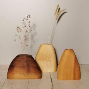 trio soliflores bois fait main