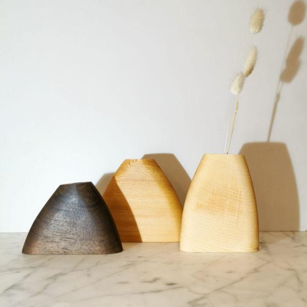 trois soliflores en bois fait main